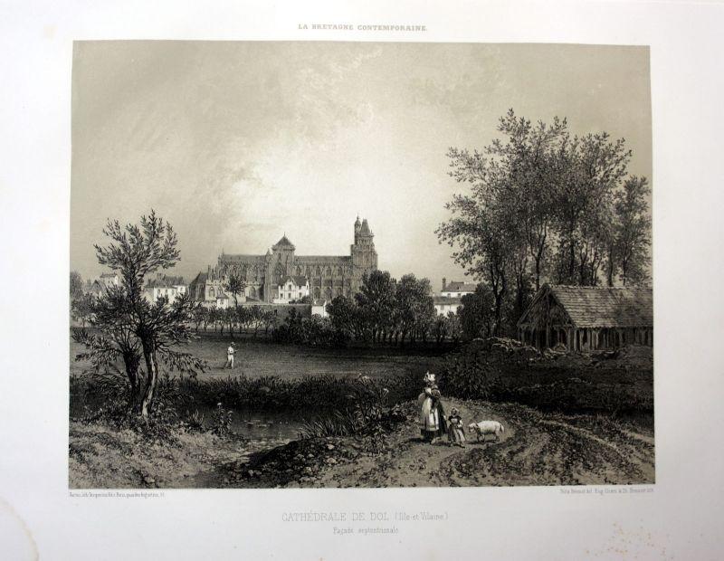 Ca. 1870 Saint-Samson de Dol-de-Bretagne France estampe Lithographie lithograph
