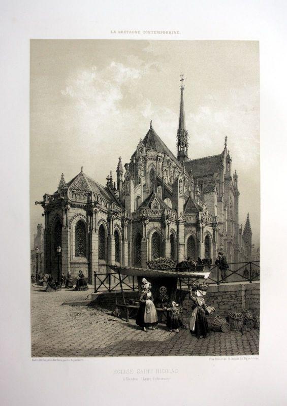 Ca. 1870 Basilique Saint-Nicolas de Nantes Bretagne France estampe Lithographie