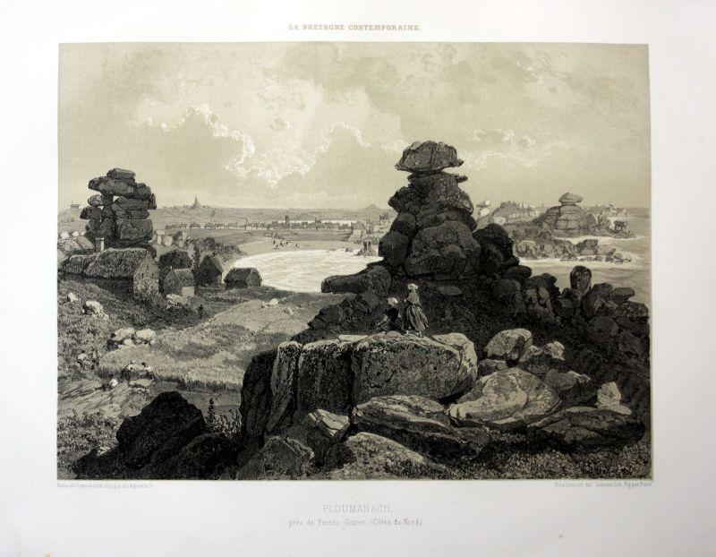 1870 Ploumanac'h Perros-Guirec Bretagne France estampe Lithographie lithograph