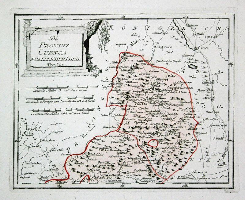 Spanien Spain Portugal Cuenca Zaorejas map Karte Reilly engraving Kupferstich