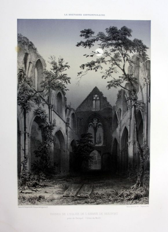 Ca. 1870 Eglise Beauport Bretagne France estampe Lithographie lithograph