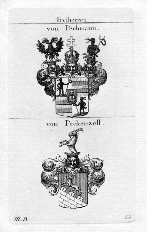 Pechmann Peckenzell - Wappen Adel coat of arms heraldry Heraldik Kupferstich