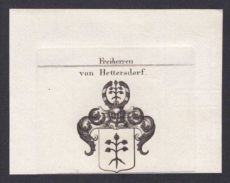 1820 Hettersdorf Franken Wappen Adel coat of arms heraldry Heraldik Kupferstich
