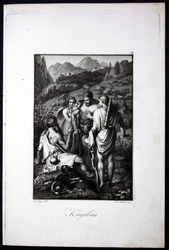 1840 - Kragaleus Mythologie mythology Griechenland Stahlstich engraving