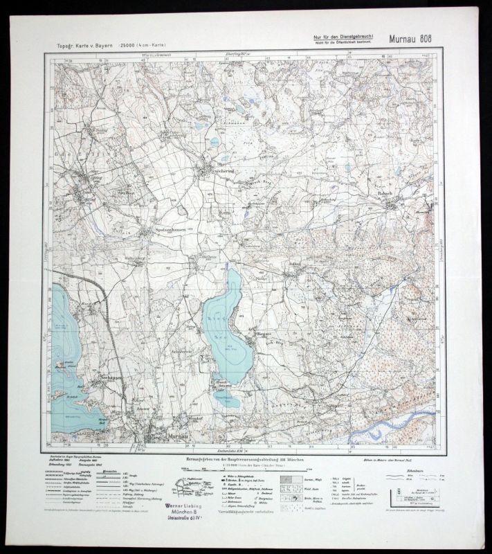 1940 Spatzenhausen Seehausen Riegsee Murnau 1:25000 Karte Meßtischblatt