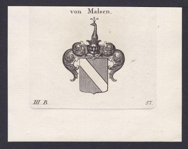 1820 Malsen Geldern Nordrhein-Westfalen Wappen Adel coat of arms Kupferstich