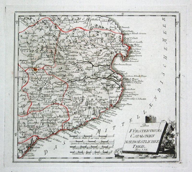 Spanien Spain Portugal Katalonien Roses map Karte Reilly engraving Kupferstich