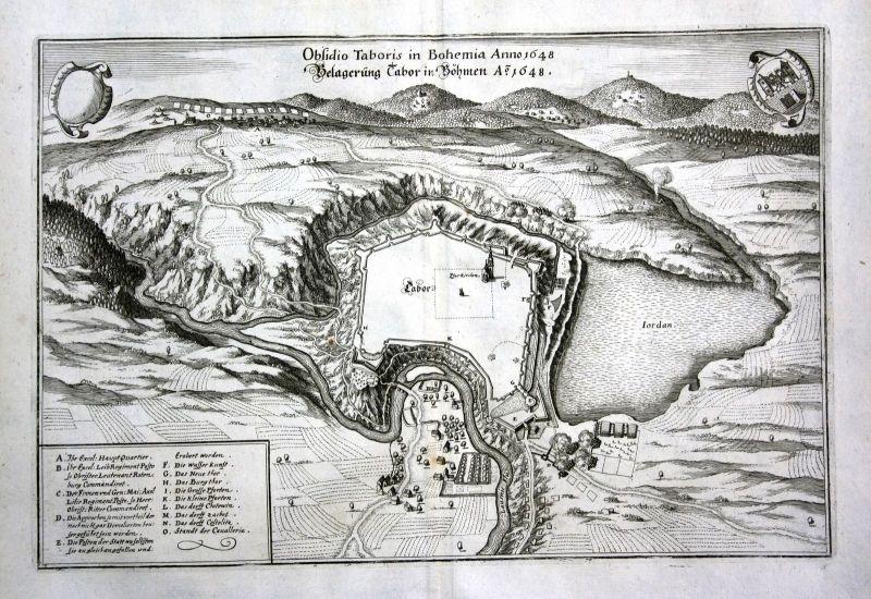 1650 Tabor Belagerung siege Czech Ansicht view Kupferstich antique print Merian