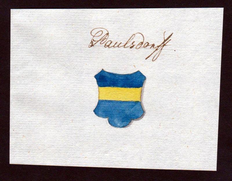 18. Jh. Paulsdorf Adel Handschrift Manuskript Wappen manuscript coat of arms