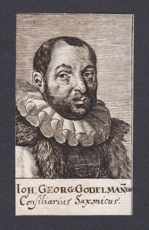 17. Jh. - Johann Georg Gödelmann / jurist Diplomat Sachsen Portrait Kupferstich