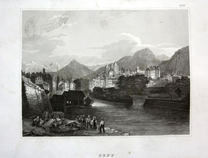 Ca. 1840 Genf Geneve Ansicht view Stahlstich engraving