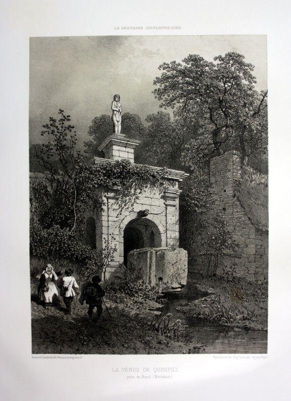 Ca. 1870 Venus de Quinipily Baud Bretagne France estampe Lithographie lithograph