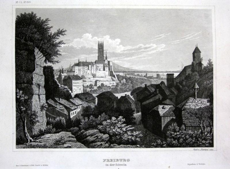 Ca. 1840 Fribourg Freiburg im Üechtland Ansicht view Stahlstich engraving