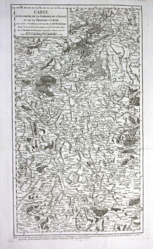 Ca. 1780 Lorraine Alsace Lothringen Elsass Turenne gravure Kupferstich Karte map