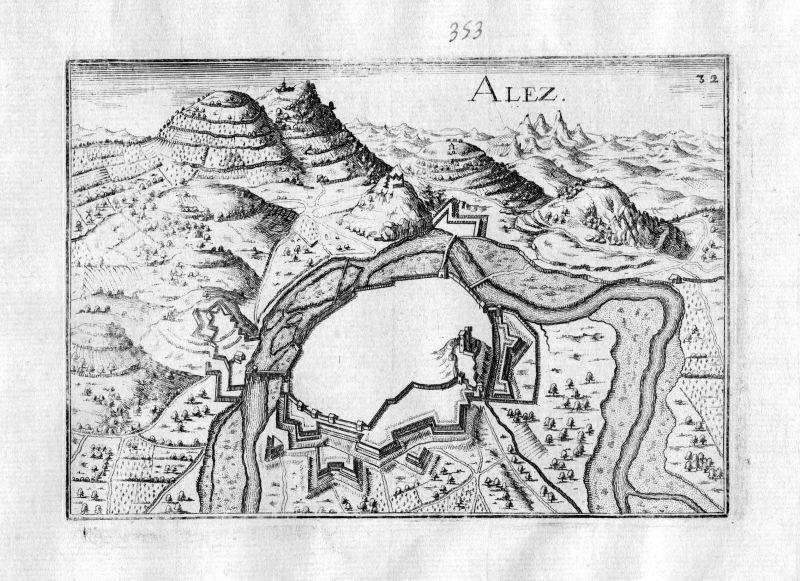 1630 Ales Gard Okzitanien France Kupferstich Karte map engraving gravure Tassin