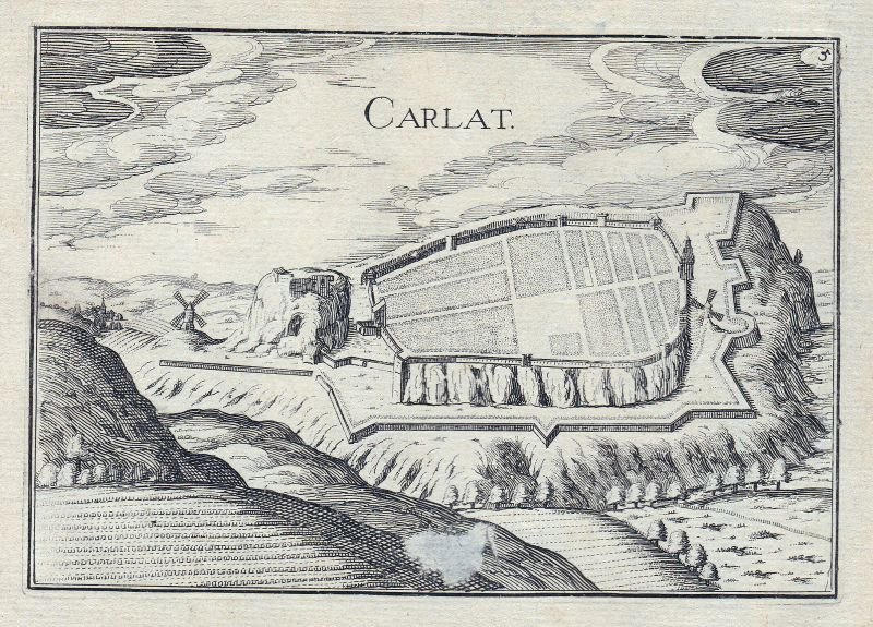 1630 Carlat Cantal France gravure estampe Kupferstich Tassin