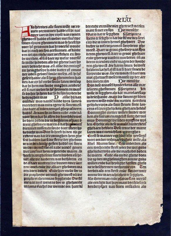 1499 Blatt XLV Inkunabel Vita Christi Zwolle incunable Dutch Holland