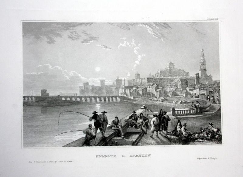 Cordova Spanien Spain Espana Fischer Brücke Ansicht Stahlstich antique print