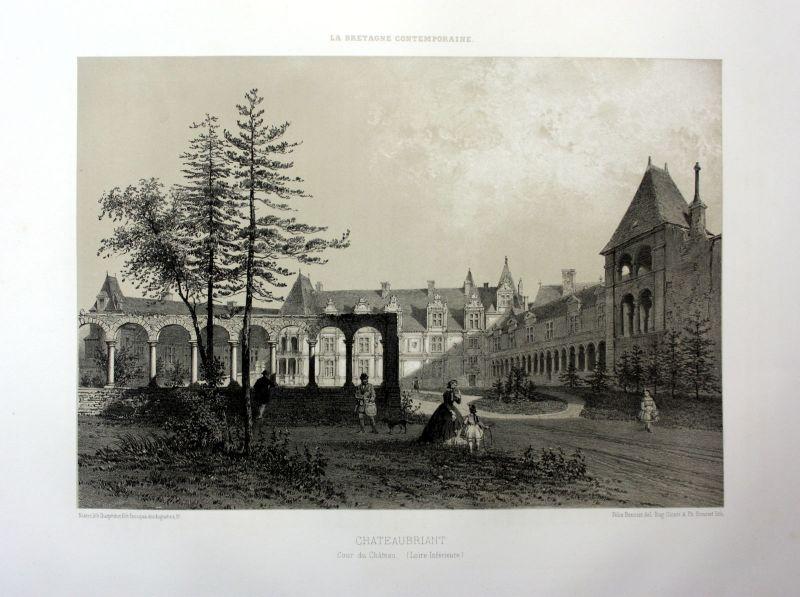 Ca. 1870 Chateaubriant Chateau Bretagne France estampe Lithographie lithograph