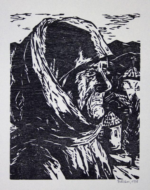 1987 Friedbert Ficker Kreterin Kreta Frau Alt Linolschnitt signiert Grafik