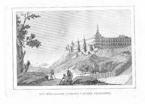 1840 - Madrid Schloss Espana Original Stahlstich engraving