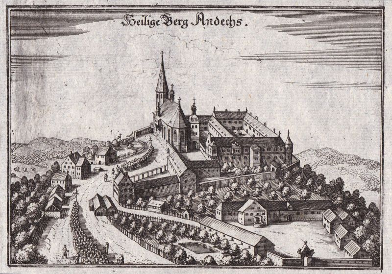 Ca. 1650 Kloster Andechs Starnberg Ansicht view Kupferstich antique print Merian