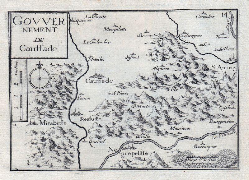 1630 Caussade Tarn-et-Garonne Okzitanien Montauban France gravure estampe 146393