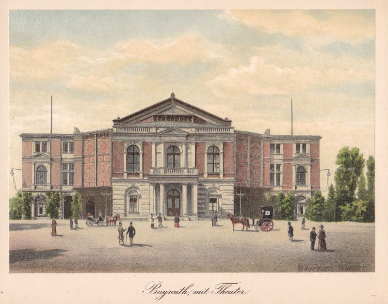 Ca. 1890 Bayreuth Theater Ansicht view Farblithographie Litho lithograph