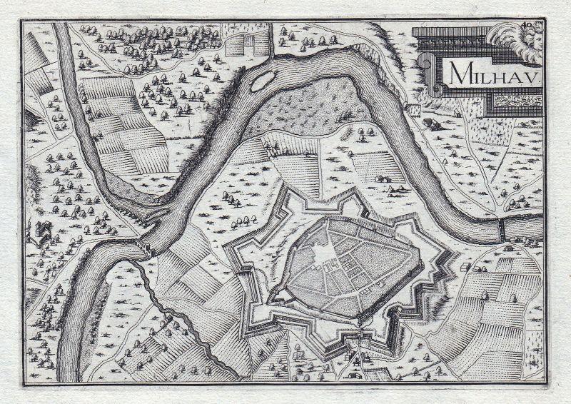 1630 Millau Aveyron France gravure estampe Kupferstich Tassin