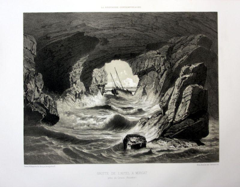 Ca 1870 Grotte de l'Autel Morgat Bretagne France estampe Lithographie lithograph