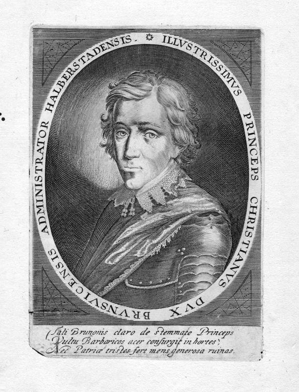1650 Christian Braunschweig Lüneburg Herzog Portrait Kupferstich antique print