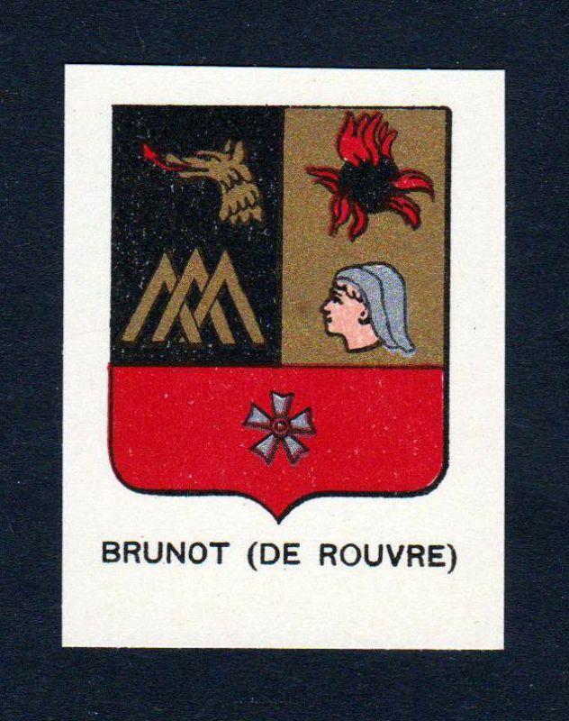 Ca. 1880 Brunot de Rouvre Wappen Adel coat of arms heraldry Lithographie antique