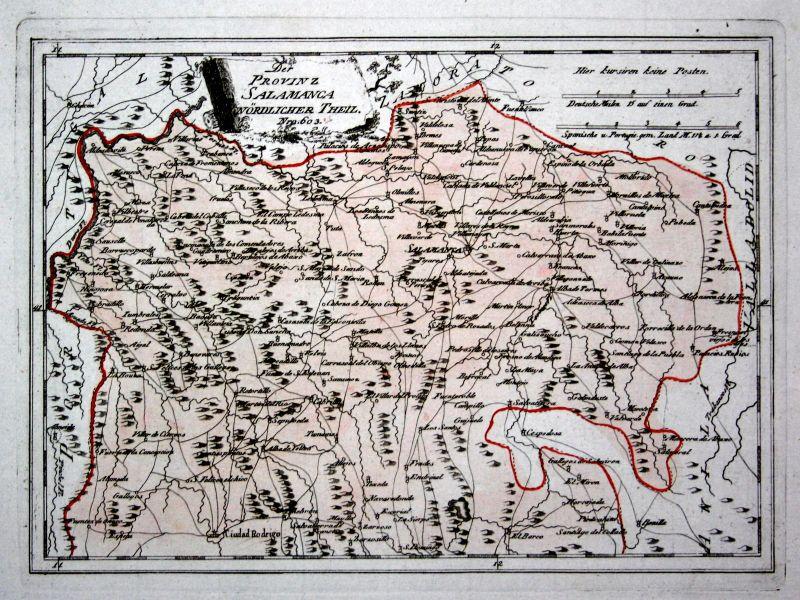 Spanien Spain Portugal Salamanca Alaejos Topas map Reilly engraving Kupferstich