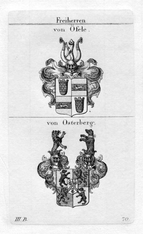 Öfele Osterberg - Wappen Adel coat of arms heraldry Heraldik Kupferstich
