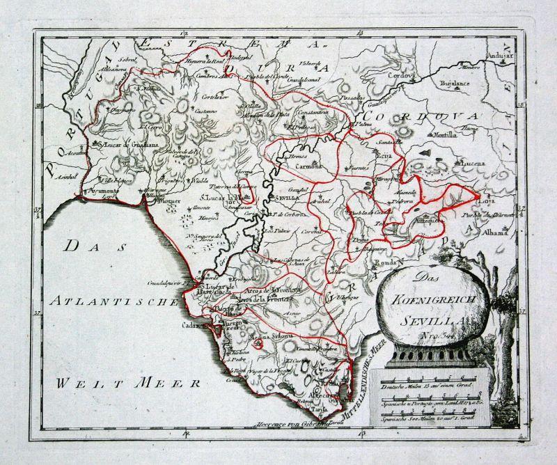 Spanien Spain Portugal Sevilla Granada map Karte Reilly engraving Kupferstich