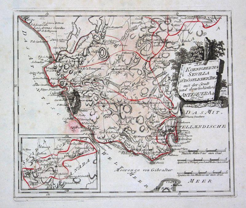 Spanien Spain Portugal Sevilla Antequera map Karte Reilly engraving Kupferstich