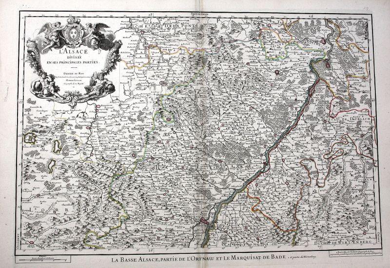 1695 Alsace Strasbourg Rhein Haguenau France carte gravure Karte map Jaillot