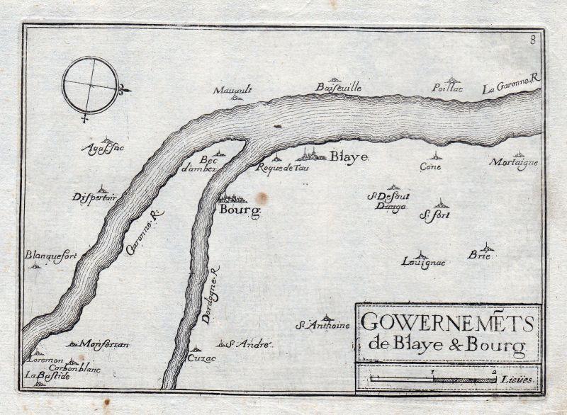 1630 Blaye Bourg Gironde Garonne France gravure estampe Kupferstich Tassin