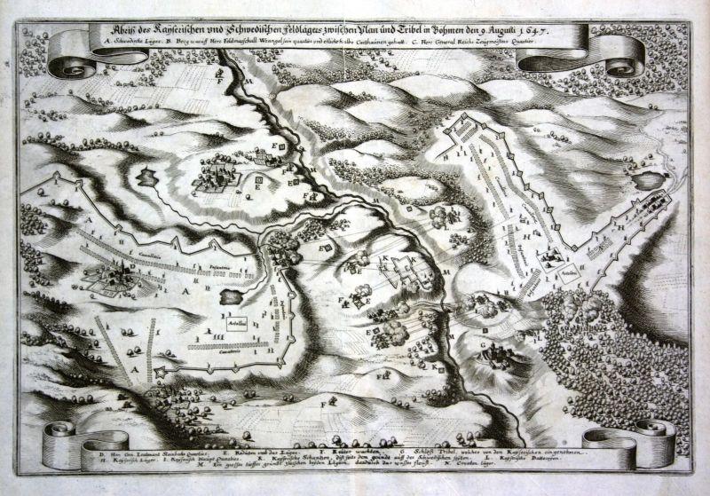 1650 Trzebiel Polska Plana siege Ansicht view Kupferstich antique print Merian