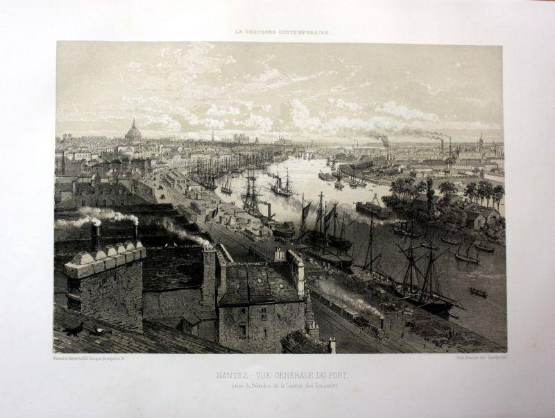 Ca. 1870 Nantes port vue Hafen Bretagne France estampe Lithographie lithograph