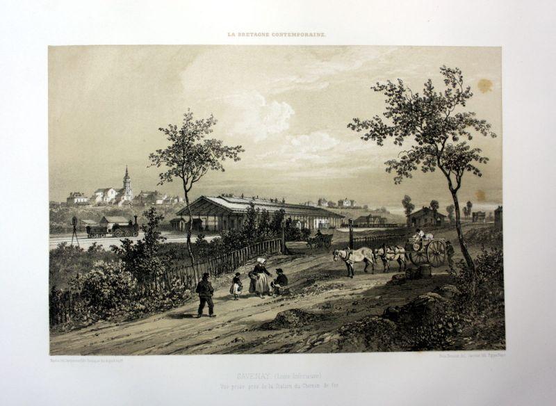 Ca. 1870 Savenay gare de chemin de fer Bretagne France estampe Lithographie