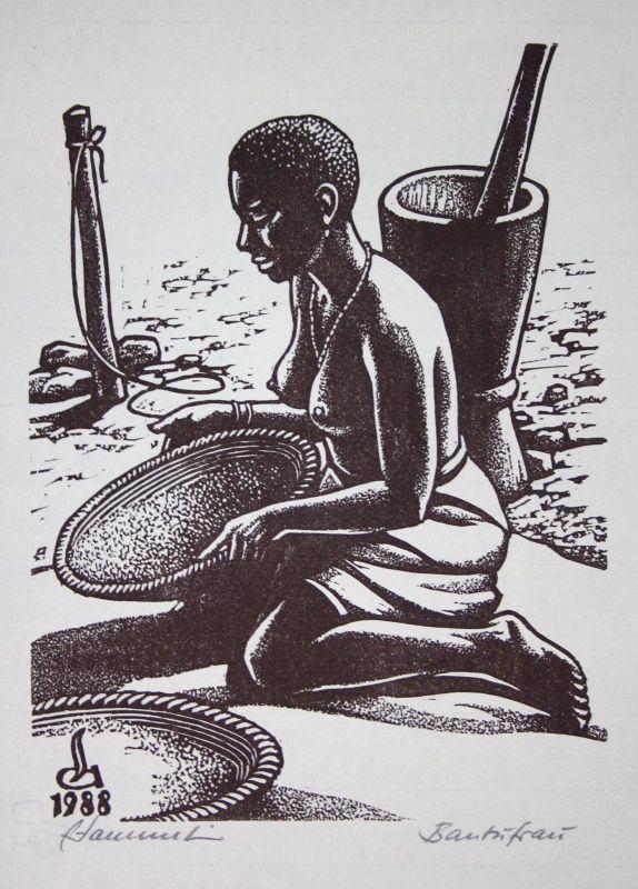 1988 Andreas Sammet Bantufrau Akt Afroamerikaner Linolschnitt signiert Grafik