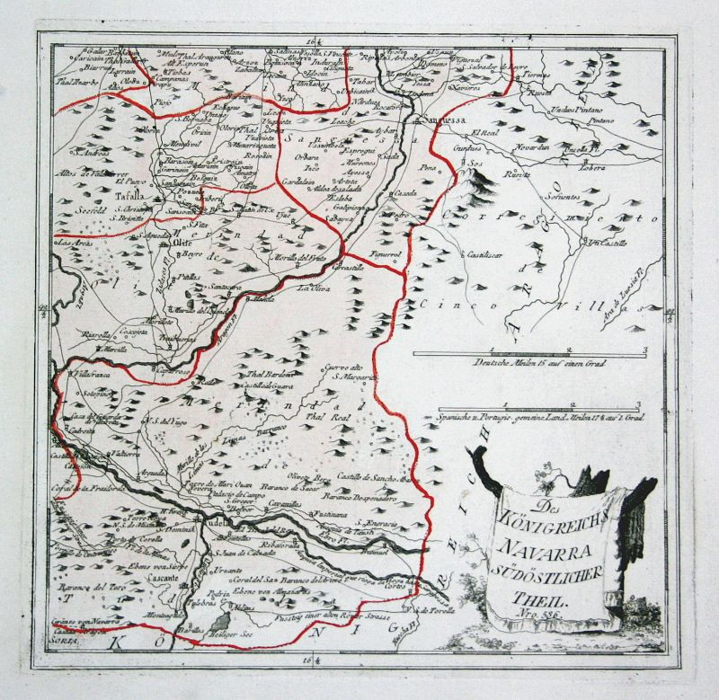 Spanien Spain Portugal Navarra Navarra Tudela map Reilly engraving Kupferstich