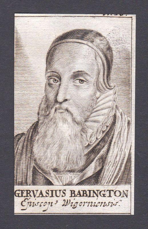 17. Jh. Gervase Babington / bishop Bischof Worcester Portrait Kupferstich