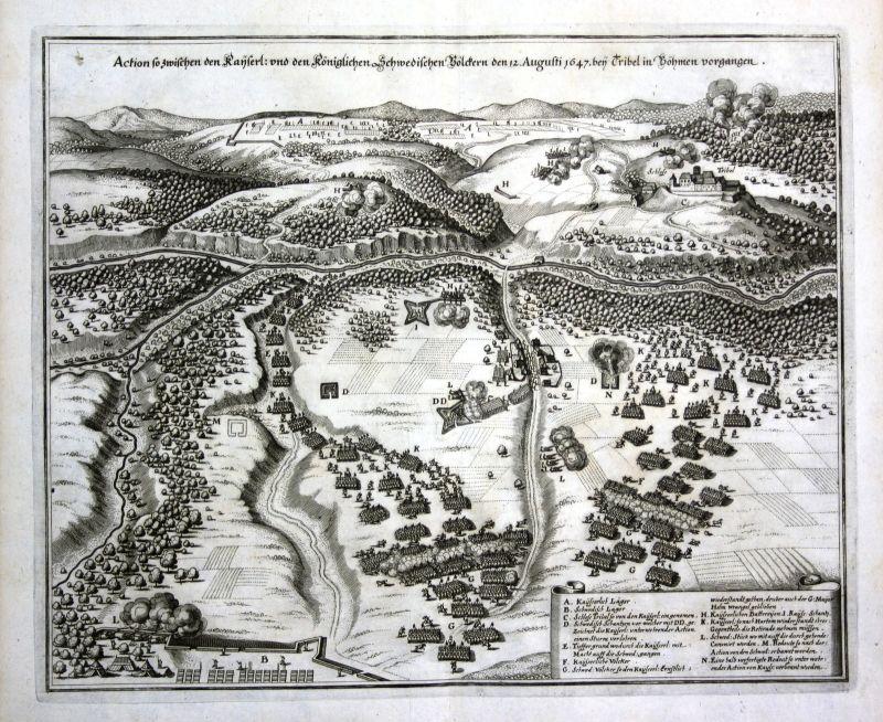 1650 Trzebiel Polska siege battle Poland view Kupferstich antique print Merian