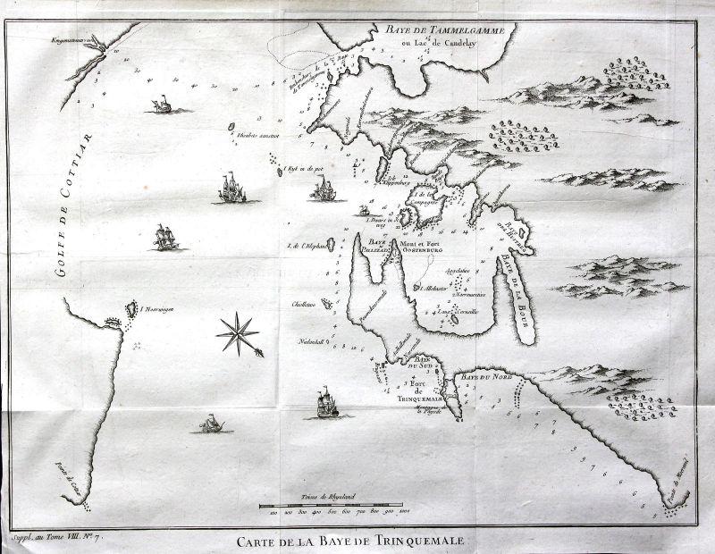 Ca. 1750 Trincomalee Sri Lanka India Karte map Kupferstich antique print Bellin
