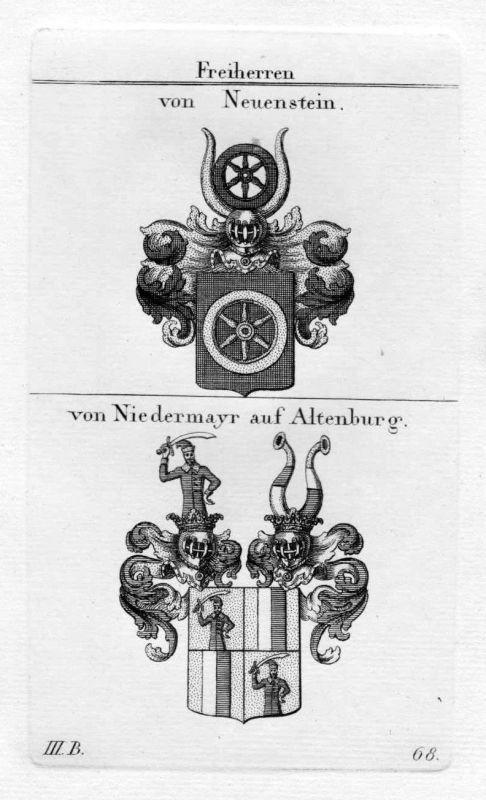Neuenstein Niedermayr - Wappen Adel coat of arms heraldry Heraldik Kupferstich