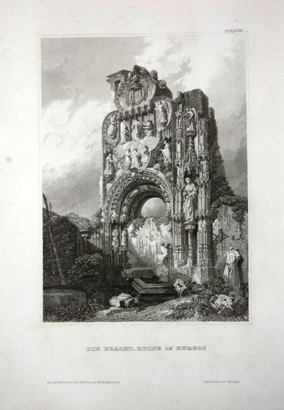 1840 Spanien Bugos Spain Espana Ruine Ansicht Stahlstich antique print view
