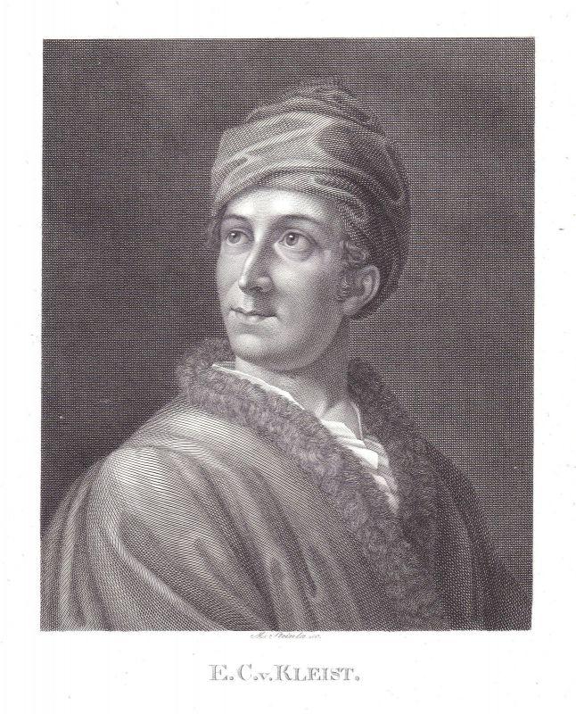 Ewald Christian von Kleist Dichter Portrait Kupferstich antique print Steinla