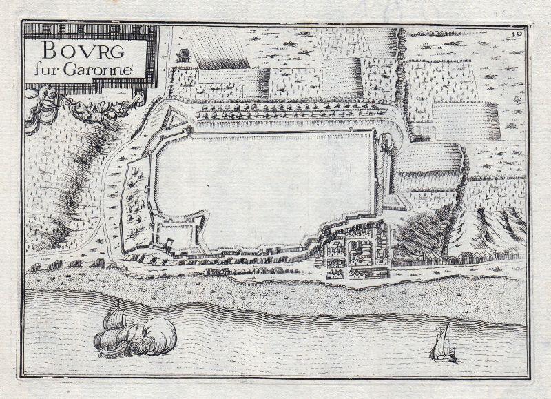 1630 Bourg Garonne Gironde France gravure estampe Kupferstich Tassin